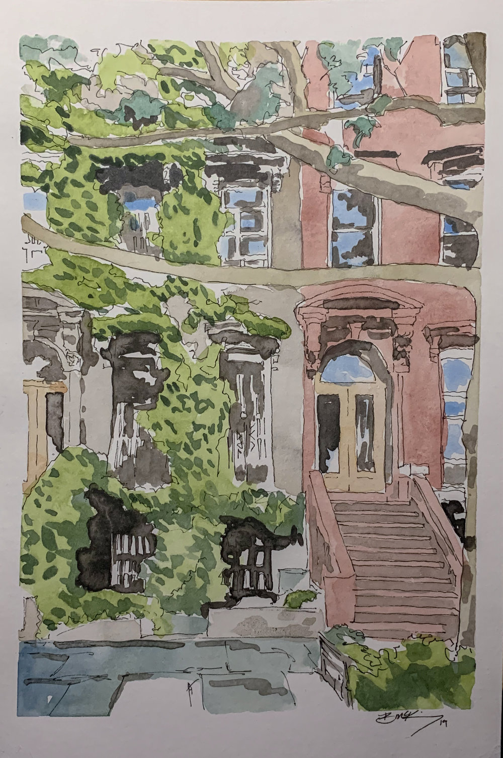 Society Hill, Ivy Covered, 6x9 inches, Watercolor, Inkwash and pen on 140 lb. Feb 2019