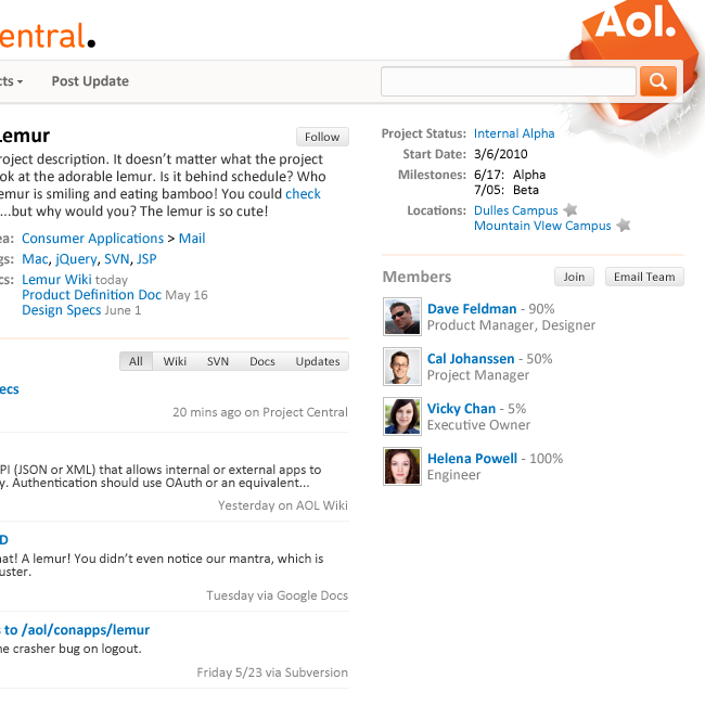 AOL Atlas  2010  A comprehensive redesign and expansion of AOL's internal company directory. Served as PM/project lead and designer.