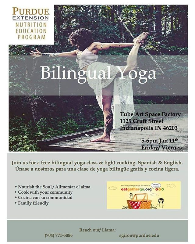 Join us today from 5pm to 6 pm for a fun & relaxing yoga class at the Tube Factory artspace brought to you by Purdue Extension. Free to the public. #yoga#indianapolis