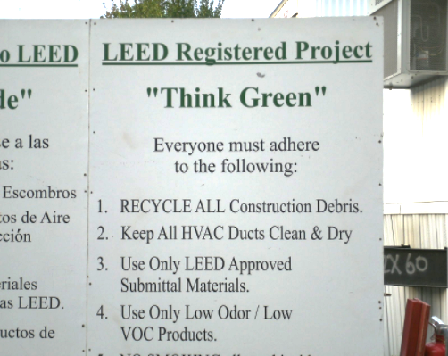 Figure 4: This sign was posted on the construction site as a reminder of the basic requirements of achieving the LEED® credits related to protecting the ducts and using low-VOC products.