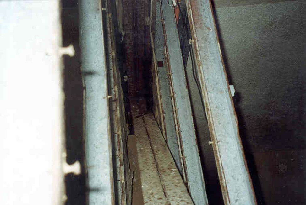 Figure 3:  This is the cavity between two modular boxes. Each box has a double drywall steel stud wall bordering this space that runs continuously and uninterrupted from the ground level to the roof.