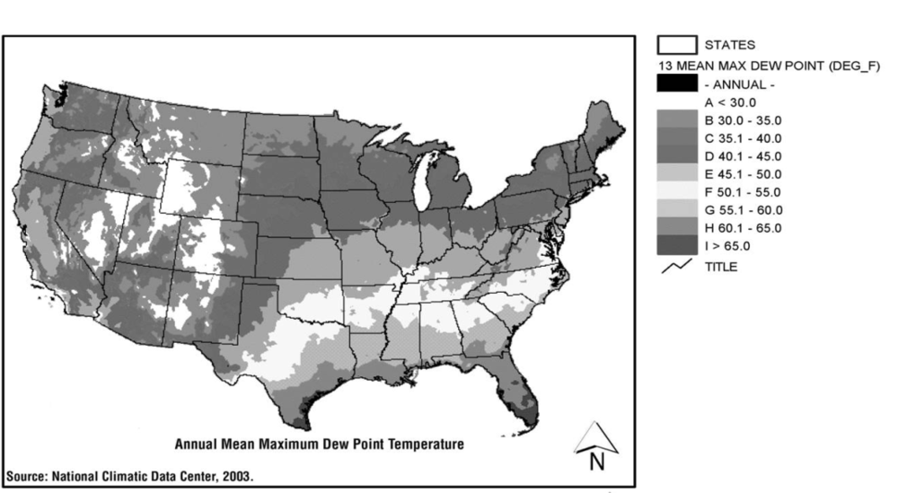 Figure 2:  High mean dew point temperatures for August (1946 to 1965) are characteristic of most of the eastern United States, thus making these areas more susceptible to moisture-intrusion problems.  From the Climate Atlas of the United States. Source: National Climatic Data Center, 2003.