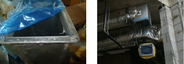 Figure 3:The mechanical contractor dutifully covered the ductwork's open ends with plastic. Above, one cover was removed by the investigator to provide viewing inside the ductwork.