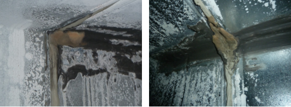Figure 5:The ductwork required $1.5M in remediation of mold growth and surface corrosion prior to the opening of the building, which involved coordinating efforts amongst significant finished work.