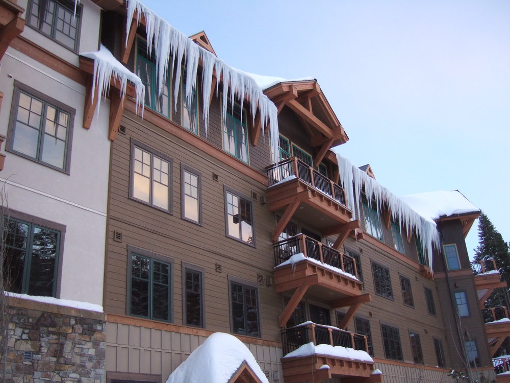 Figure 3:  Lethal icicles form at the edge of a ski resort roof.