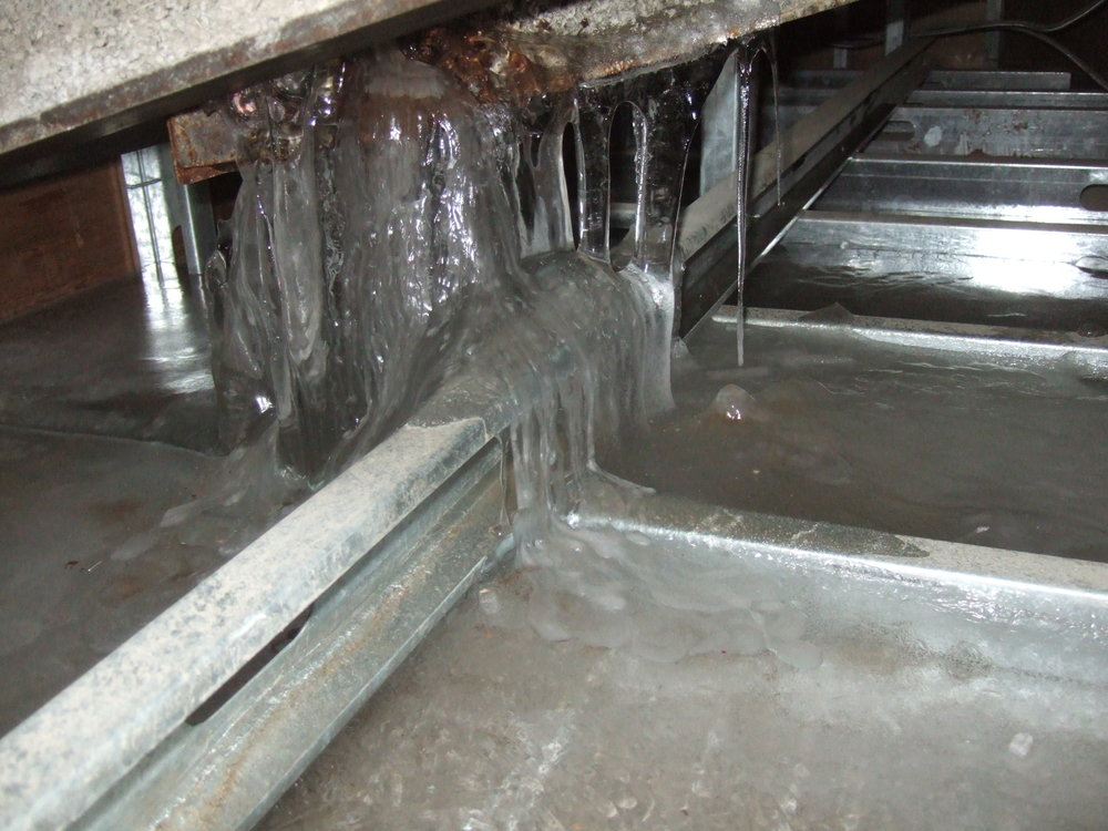 Figure 4:  Ice formation within a roof soffit