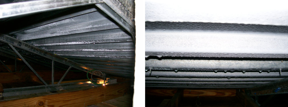 Figure 10:  Ice and frost formation is present in the roof cavity of a Midwest medical facility due to exfiltration of warm, humid indoor air.