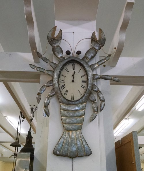 galvanized metal lobster wall clock timeless cottage