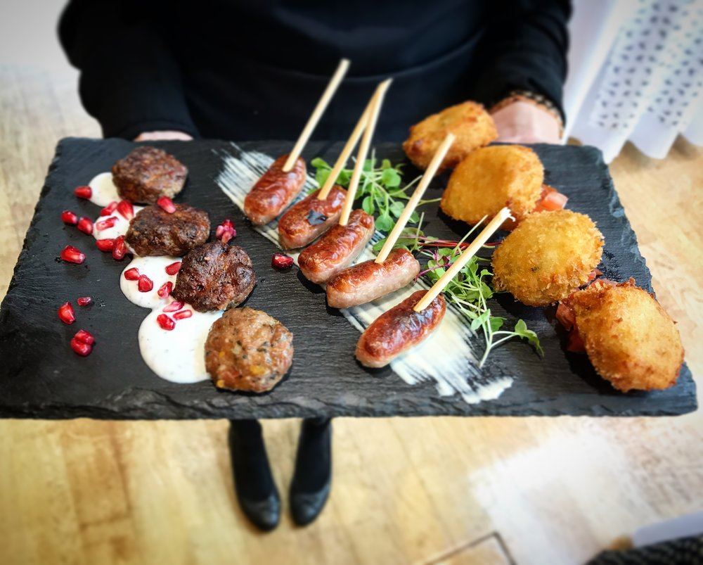 LAMB KOFTAS, STICKY HONEY GLAZED CHIPOLATAS AND LOUISIANA CRAB CAKES