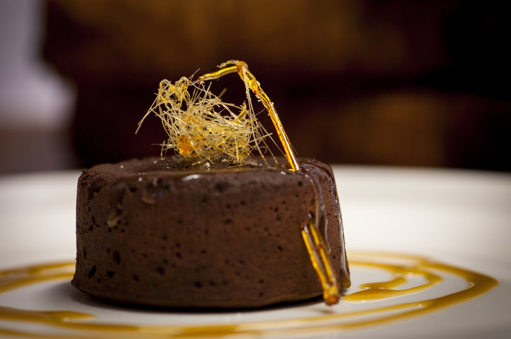 CHOCOLATE FONDANT WITH SPUN SUGAR