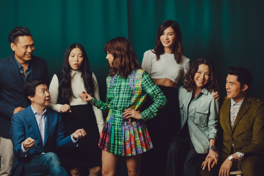 The sprawling ensemble of a cast pictured to portray Kevin Kwan's novel, Crazy Rich Asians. Credit: Rozette Rago for The New York Times