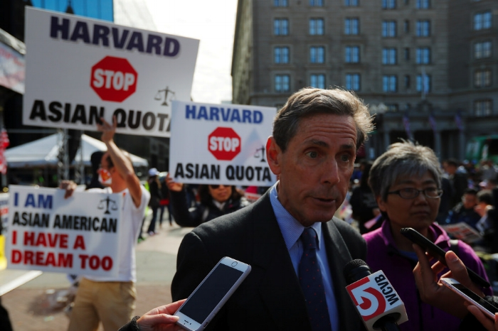 One day before the trial, Founder of Students for Fair Admissions (SFFA) speaks to reporters at a rally in Boston (Oct.14).