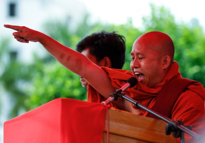 Prominent Buddhist monk Wirathu, has been a vocal nationalist advocate for the removal of the Rohingya people. (EPA-EFE/LYNN BO BO)