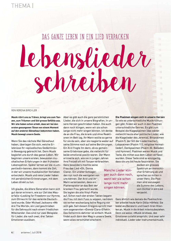 Das ganze Leben in ein Lied verpacken: Lebenslieder schreiben, antenne schweiz 07/18