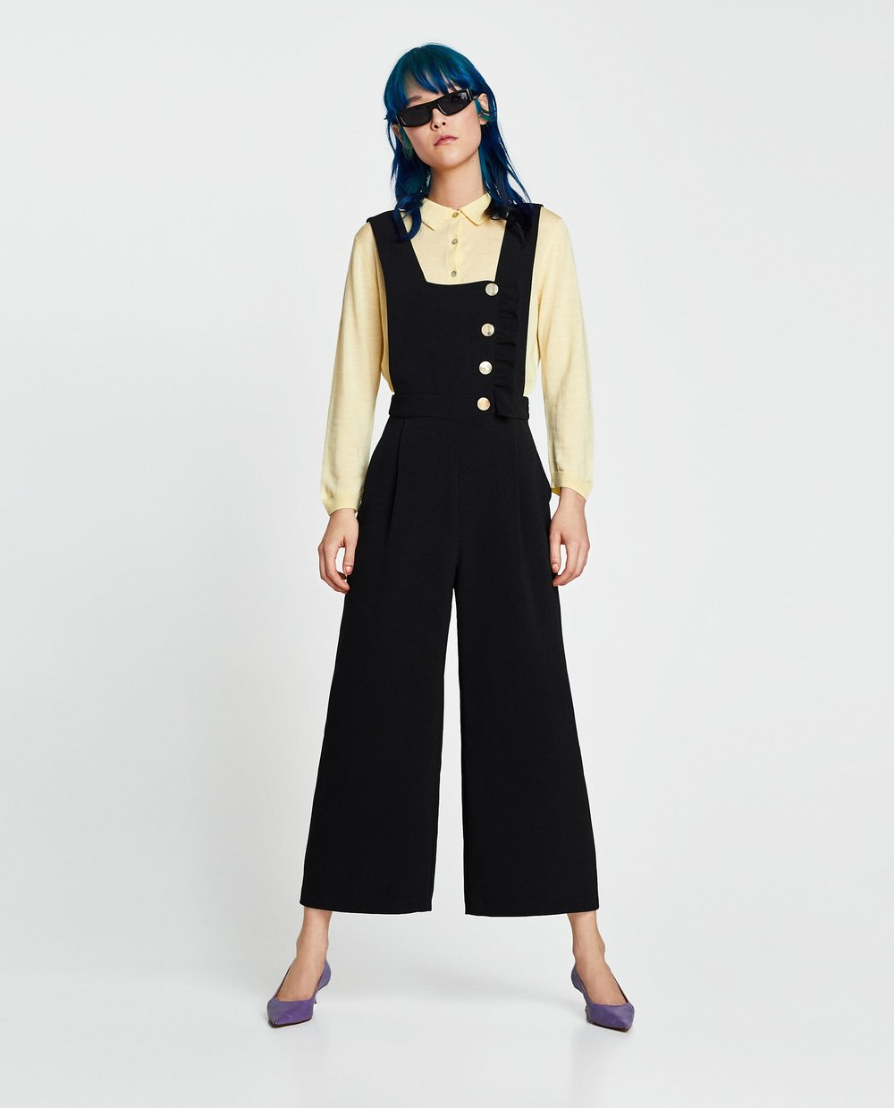 Zara Dungarees with Buttons and Ruffle Trim