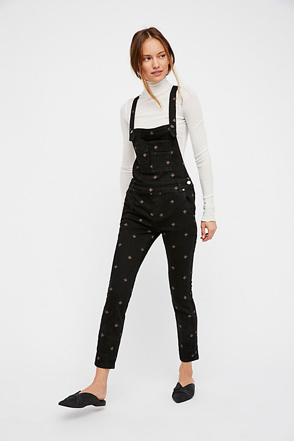 Free People Embroidered Overalls