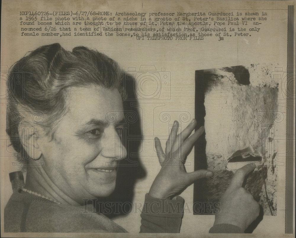Margherita Guarducci Pointing to Niche in Graffiti Wall