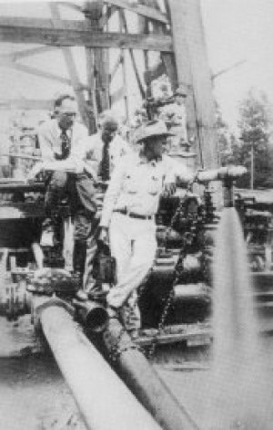 George Strake Drilling the First Well in the Great Conroe Field, 1931