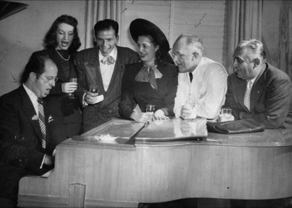 George Strake with Frank Sinatra, Phil Silvers and Dorothy Lamour, 1951