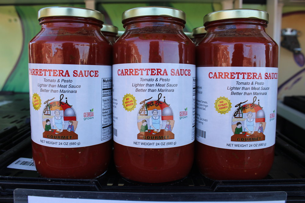 FraLi Gourmet Carrettera Pizza and Pasta Sauce, $9  24 oz sauce is a blend of fresh basil pesto, pine nuts, olive oil, soybean oil, and tomato sauce. Sugar free, no additives or preservatives.