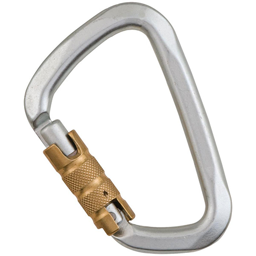 "Liberty Mountain Hard Steel Modified D 3AL - Liberty Modified ""D"" carabiners are heat-hardened to hold 50kN and nickel plated to withstand intense abuse."