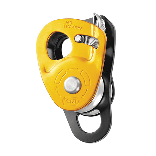 Petzl JAG Traxion Double Pulley - The JAG TRAXION double progress capture pulley is designed for use with the JAG pulley to make a 4:1 haul system.