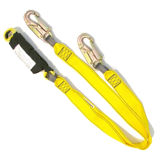 Robertson Lobster Claw w/ Zorber & Snap Hooks - Lobster Claws are a unique, adjustable set of positioning / safety lanyards designed specifically for program high ropes courses.  Zorbers MUST be used if any protection anchor points being used are static (bolts, bolt hangers, staples, steel rods or beams).