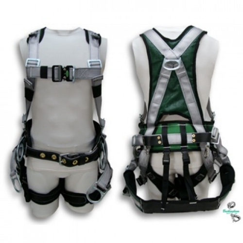 Buckingham Summit Tower Fall Arrest Harness - The Summit™ Tower Harness is an 'H' style full body harness with a built in body belt that features a Dri-lex shell and fits like a vest that wicks moisture away from the user.
