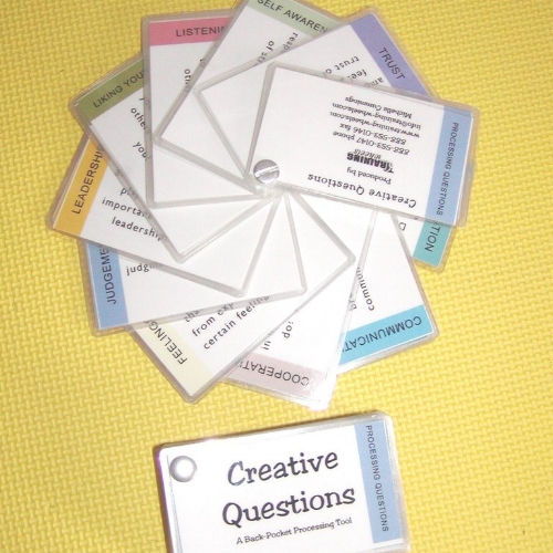 Creative Questions - Creative Questions is a collection of questions from professionals in the Experiential Education field. It's purpose is to help facilitators in their debriefing sessions to ask appropriate questions.