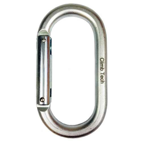 ClimbTech Steel Oval Non-Locking Carabiner - Clear zinc-plated Steel, non-locking, carabiner with an aluminum gate.