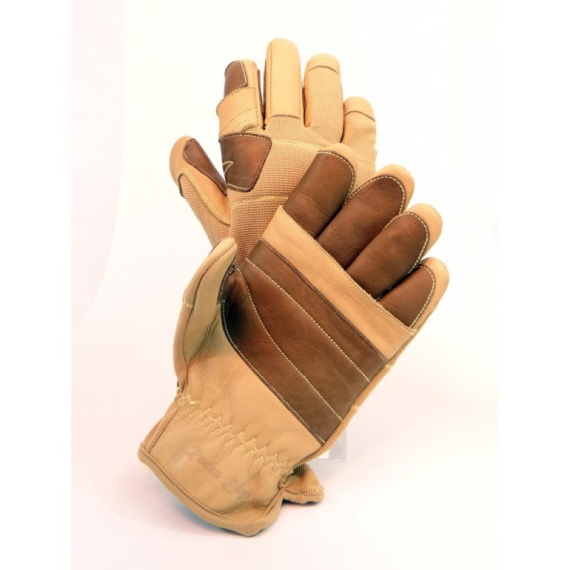 Rocks Edge Zip Line Pro Full Finger Glove - Their unique blend of triple-layer goat and cow leather coupled with a Kevlar backing on the middle layer allows for maximum protection in high stress areas while allowing for excellent hand dexterity.