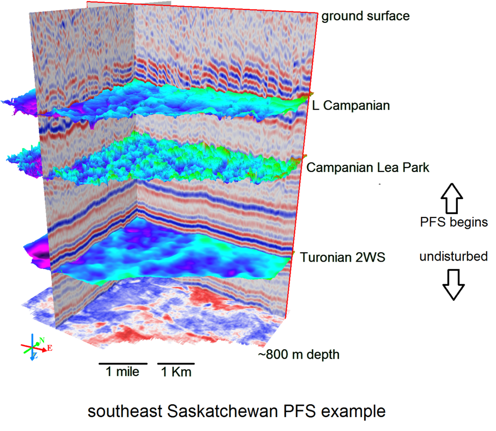 This 'cube' of seismic data shows how the deeper geological layers are flat, but the shallowere layers are faulted as indicated by the offset blue and red acoustic reflections from these layers. PFS is short for 'polygonal fault system' because of the  patterns that the faults make in map view .