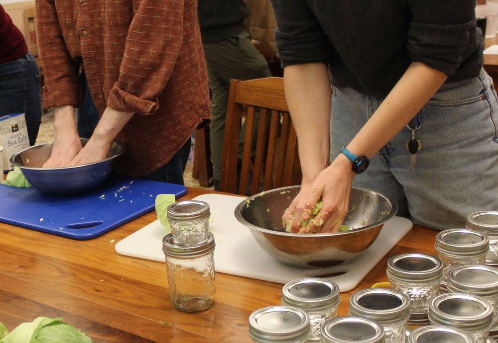 Students create sauerkraut ferments in the Intensive's first session.
