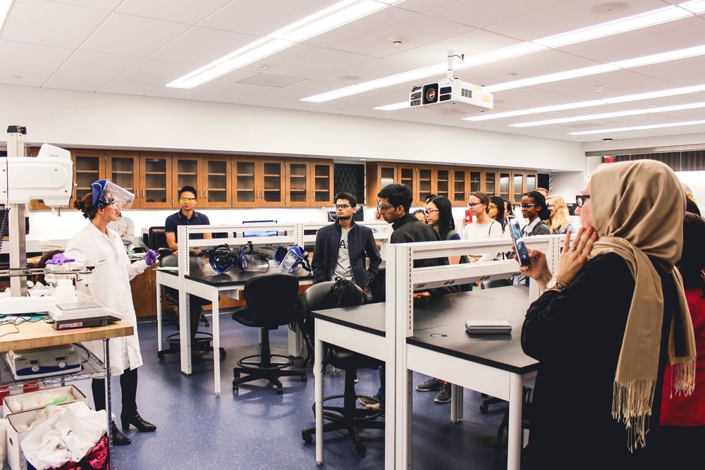 Students learn about best practices for developing and testing product formulations from a L'Oréal expert.