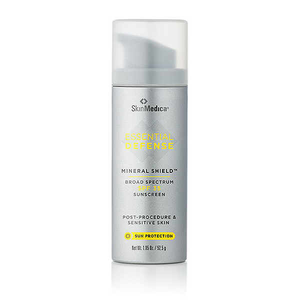 Essential Defense Mineral Shield Broad Spectrum SPF 35  This sheer, lightweight, mineral sunscreen gives you the highest level of UVA protection available, along with UVB coverage to protect you from damaging rays.  Appropriate for post procedure and sensitive skin types.