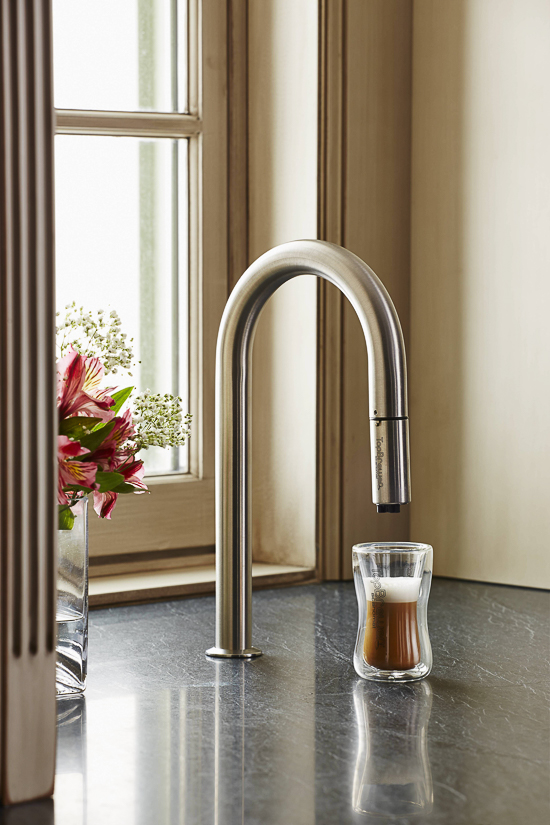 Source:  TopBrewer  Coffee Maker  A TopBrewer coffee maker offers a clever way to conceal the coffee maker below the counter. Discover more Coffee Station Ideas that are perfect for a luxury kitchen.