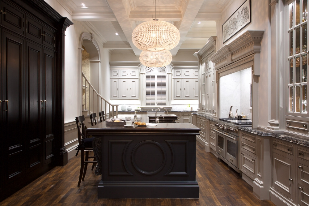 Clive Christian Architectural Kitchen in Dark Walnut and Painted Ivory. Image of Clive Christian Nantwich Showroom.