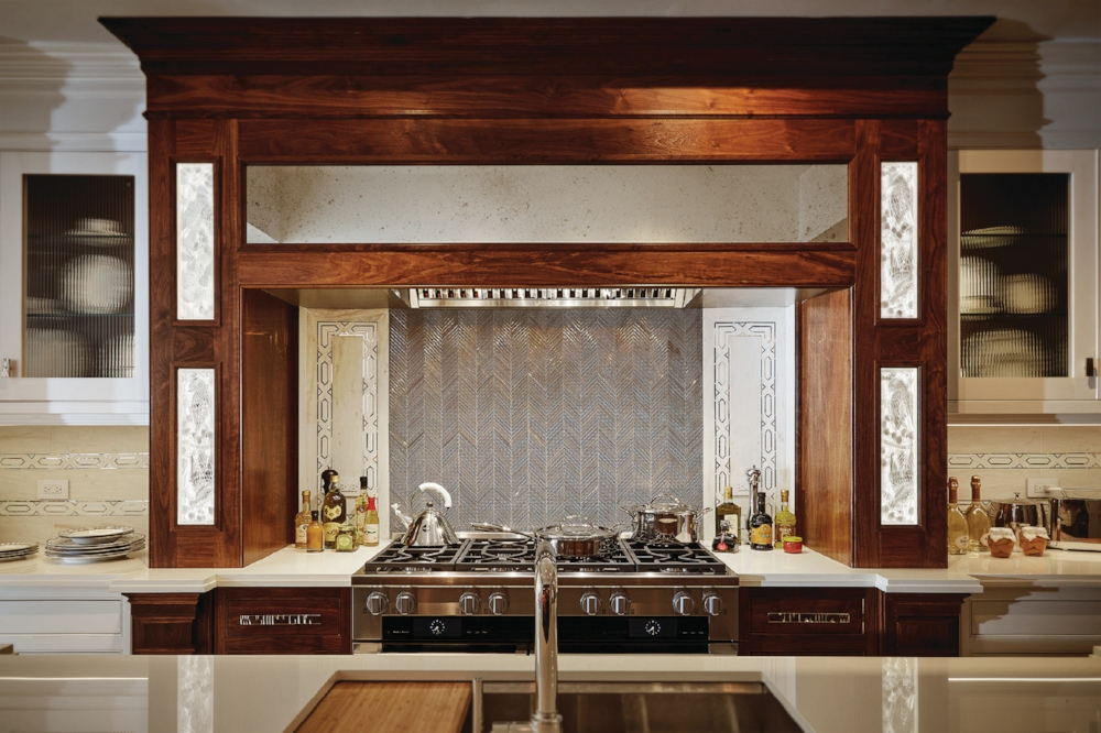 Clive Christian contemporary walnut mantle for Kips Bay showcase house 2016.
