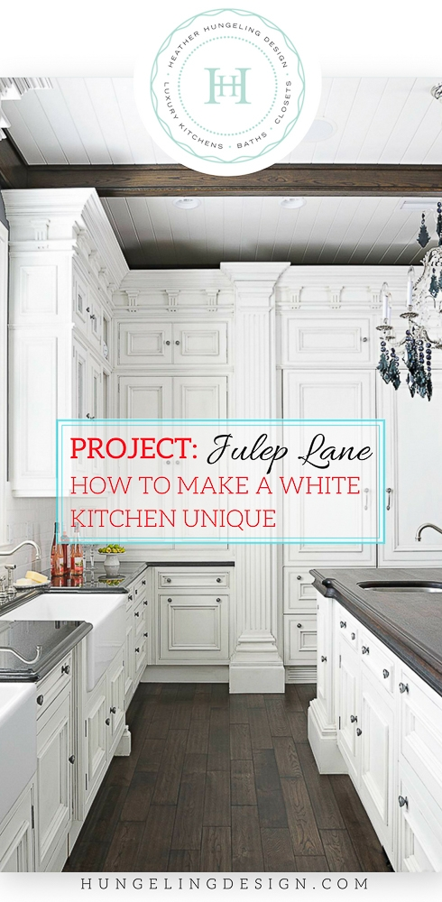 A luxury white kitchen featuring Clive Christian cabinetry in Kentucky - designed by Heather Hungeling. A great example of how to make a traditional white kitchen interesting and unique with luxury details.