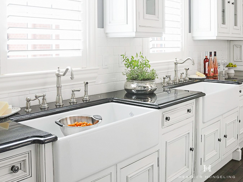 What's more luxurious than a large farmhouse sink in your dream kitchen?  TWO farmhouse sinks!