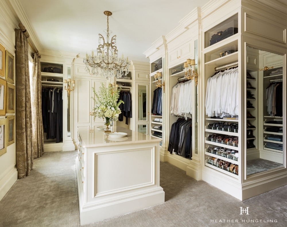 A luxury closet in Dallas, TX, featuring Clive Christian fitted furniture. This cabinetry is built like traditional wardrobes rather than the open system of shelving and hanging rods frequently seen today. Read  My Top 10 Tips to Create the Perfect Luxury Closet . Source: Hungeling Design