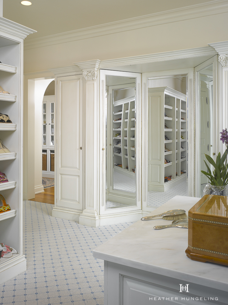 A Three-Way Mirror is a nice feature for a luxury closet if space allows. However, mirrored wardrobe doors can often be positioned in such a way that they can provide s similar function if space is tight. Get more of  My Top 10 Tips to Create the Perfect Luxury Closet .. Source: Hungeling Design