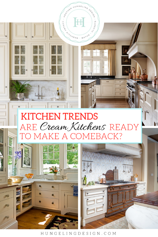 """Do you hold on to images of kitchens designed 15 years ago and sigh wistfully at the beautiful cream kitchen cabinets? Well, I have good news for lovers of cream kitchens everywhere…I'm forecasting a return of the warmer, creamier colors of our past! With the continued """"warming"""" up of the gray trend, the conditions are perfect for cream to finally make a comeback. #luxurykitchens, #kitchentrends"""