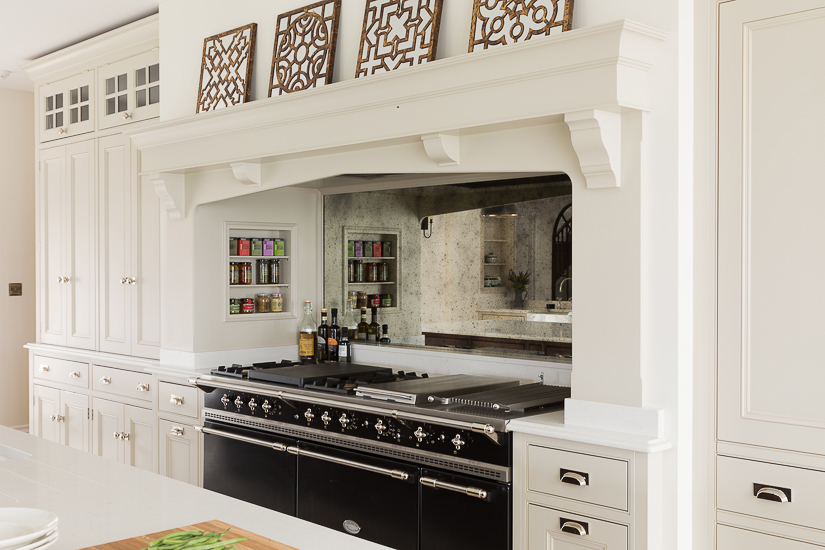 A Classic English Mantle is a primary ingredient for creating the English kitchen look. Relatively simple when compared to the more elaborate range hood ideas cooked up by designers in the U.S. market.