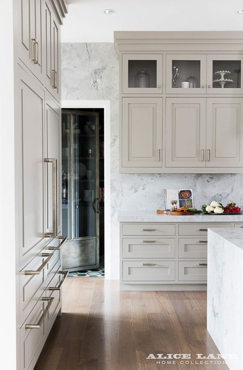 If you've found a marble you truly love, why not apply it to an entire feature wall, as the designer did in this kitchen? See my post on  9 Kitchen Marble Ideas…For When You Really Love Marble.