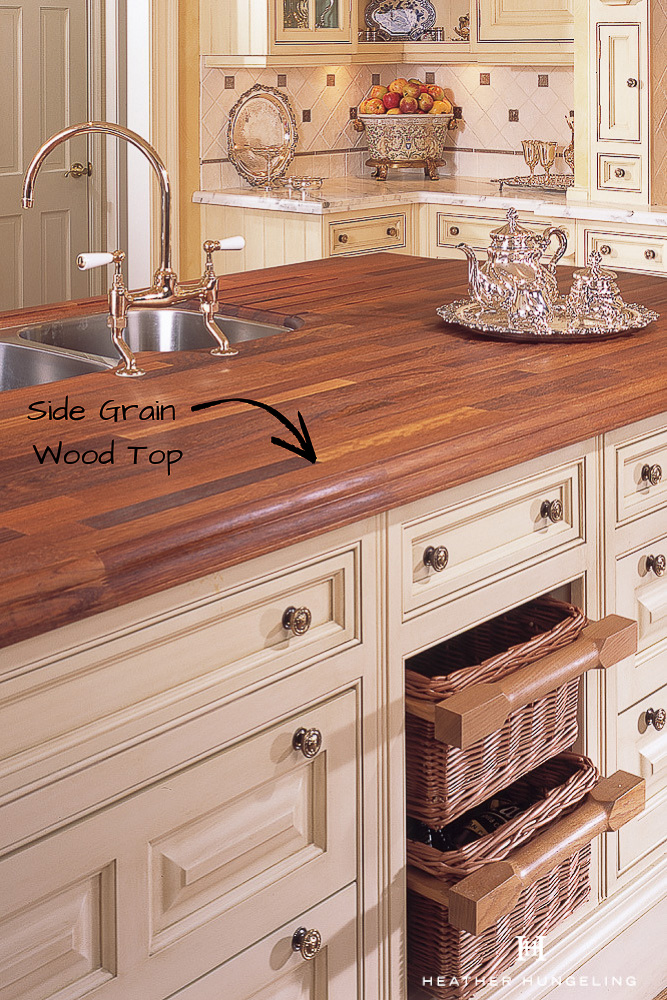 If you're in the market for wood countertops for your future kitchen, it is essential to understand the difference between End Grain and Side Grain construction. The latter is NOT suitable for cutting but looks more elegant for use as an island or for perimeter counters.