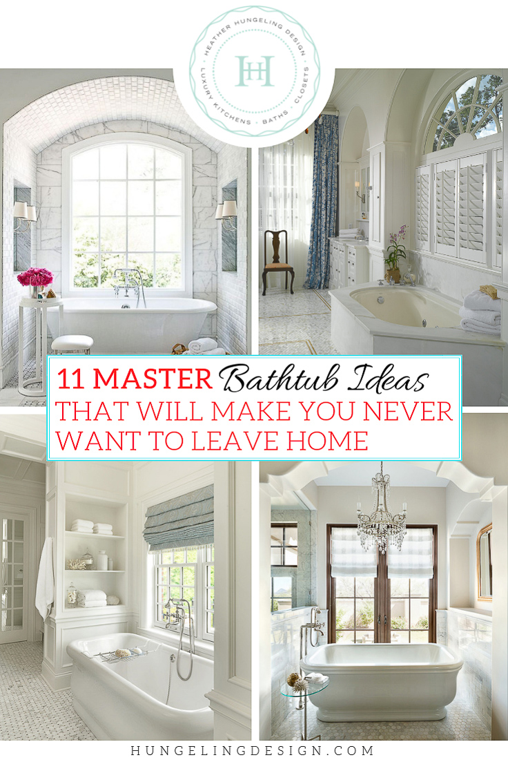 Are you looking to create your own private sanctuary this year with a new master bathroom? Take the extra time to plan out a breathtaking setting for your bathtub, and you'll never feel like leaving home again. I've rounded up 11 master bathtub ideas that will help you see the potential in your own space. #luxurybathrooms, #traditionalbathroom, #whitebathrooms, #clivechristian