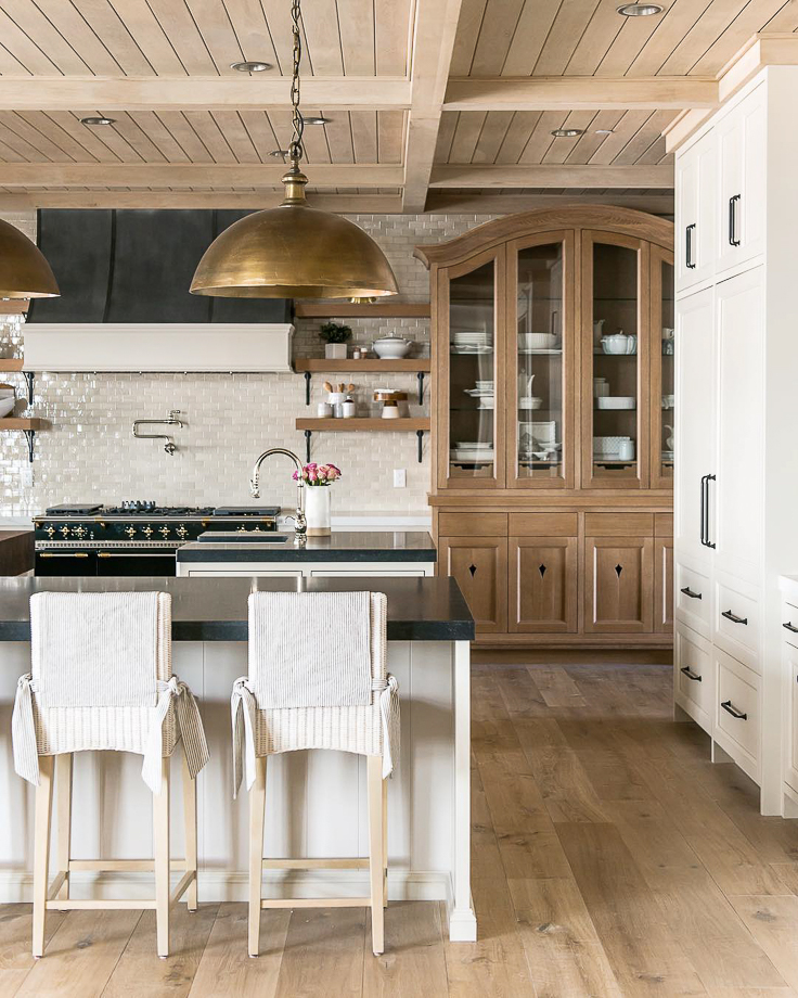 Planked and paneled ceilings are on the rise for kitchens in 2019. Everyone is craving texture and not willing to ignore the vast canvas that is the ceiling. We'll see more attention given to ceilings this year as it also offers a way to incorporate warmth in otherwise neutral kitchens.  Kitchen Trends 2019 . #kitchentrends, #luxurykitchens, #kitchendesignideas