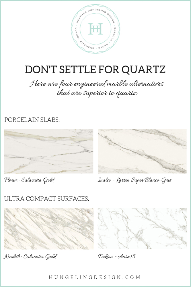 One of the biggest kitchen design mistakes I see homeowners make is settling for quartz countertops as an engineered alternative to real marble. Porcelain slabs and Ultra-Compact Surfaces offer an improvement over quartz countertops in terms of the durability as well as the look. #kitchencountertops, #quartzcountertops, #luxurykitchendesigns #traditionalkitchens