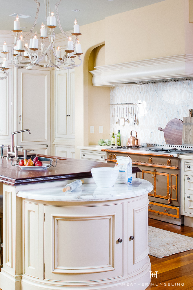 """If you love marble, I encourage not to settle for quartz or granite countertops in an attempt to be """"practical.""""  There are several natural alternatives, as well as man-made options that are superior in looks and durability.  #kitchencountertops, #quartzcountertops, #luxurykitchendesigns #traditionalkitchens"""